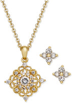 Charter Club Gold-Tone Crystal Pendant Necklace and Matching Stud Earrings Set, Only at Macy's
