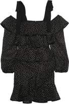 Rebecca Vallance Farina Tiered Embroidered Lace Mini Dress