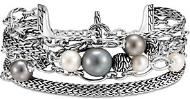 John Hardy Sterling Silver Classic Chain Multi-Strand Cultured Freshwater Pearl & Cultured Tahitian Pearl Bracelet