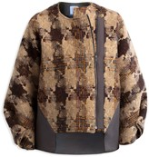 Artisan Bomber Coat Made From Donegal Tweed & 'Inlay' Laser Cut Faux Suede