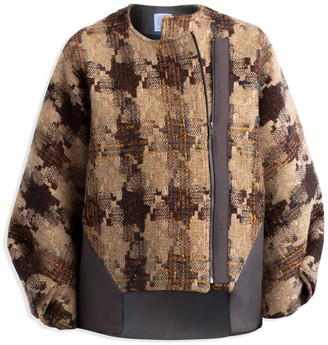 Cleo Prickett Artisan Bomber Coat Made From Donegal Tweed & 'Inlay' Laser Cut Faux Suede
