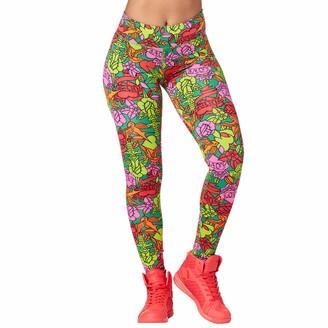 Zumba Soft Fitness Wide Waistband Workout Compression Print Gym Leggings Women