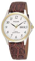 Pulsar Brown Leather Strap Watch With Date Function Pxf294x1