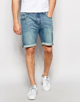 Asos Denim Shorts In Stretch Slim Mid Blue