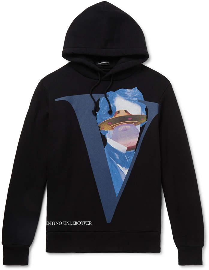 Undercover Valentino Printed Fleece-Back Cotton-Jersey Hoodie - Men - Black