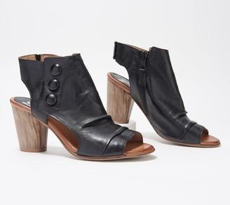Miz Mooz Leather Peep-Toe Heeled Sandals - Bella