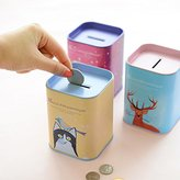 Lykis(TM) Portable Cute Iron Square Bank Saving Cash Coin Money Box Children Toy Kids Gifts Home Collection New C2