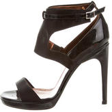 Calvin Klein Collection Satin Patent Leather-Trimmed Sandals
