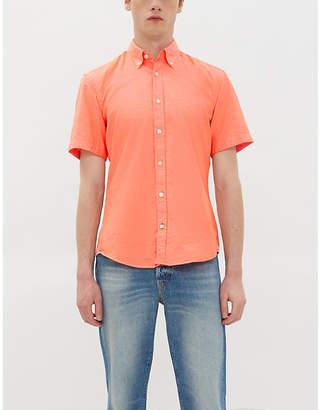 BOSS Slim-fit short-sleeved cotton and linen-blend shirt
