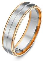 Theia Two Tone Palladium 950 and 9ct Rose Gold Court Matt and Polished Finish 6mm Wedding Ring - Size X