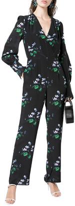 Les Rêveries Floral Wrap Silk Jumpsuit