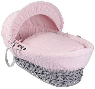 Clair De Lune Marshmallow Grey Wicker Moses Basket inc. Bedding, Mattress & Adjustable Hood (Pink)