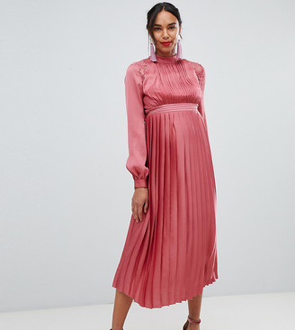 Little Mistress Maternity pleated midi dress in rose