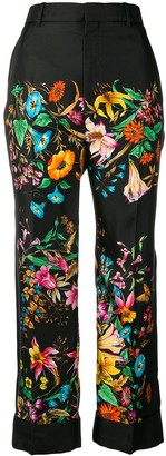 Gucci Floral Print Cropped Trousers
