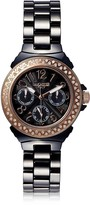 Lancaster Ceramic Diamonds Black Multifunction Quartz Movement Watch