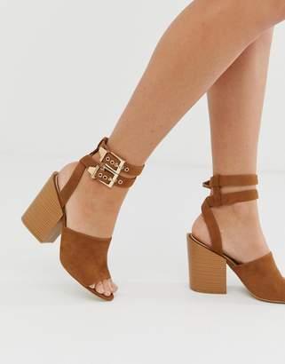 RAID Orita tan buckle detail heeled sandals with stacked heel