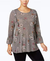 Style&Co. Style & Co Plus Size Printed Ruffled Top, Created for Macy's