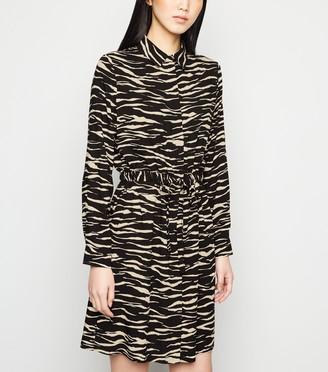 New Look Zebra Print Drawstring Waist Shirt Dress