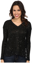 Mod-o-doc Sequin Sweater Knit V-Neck Pullover