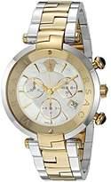 Versace 'Rêvive Chrono' Swiss Quartz Stainless Steel Casual Watch, Color:Two Tone (Model: VAJ050016)