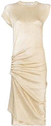 Paco Rabanne Asymmetric Ruched Midi Dress