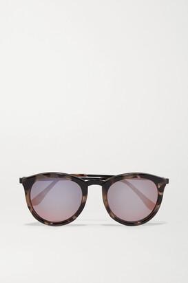 Le Specs No Smirking Round-frame Acetate Mirrored Sunglasses