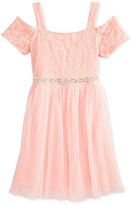 Sequin Hearts Cold-Shoulder Pleated Dress, Big Girls (7-16)