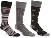 Roundtree & Yorke Gold Label Striped Combo Crew Dress Socks 3-Pack