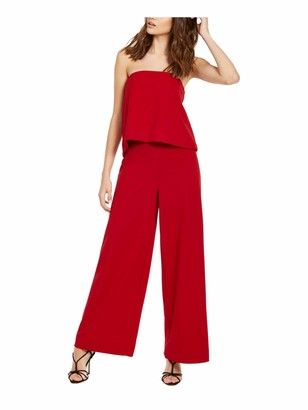 Rachel Roy Womens Red Solid Sleeveless Strapless Evening Jumpsuit Size: XS