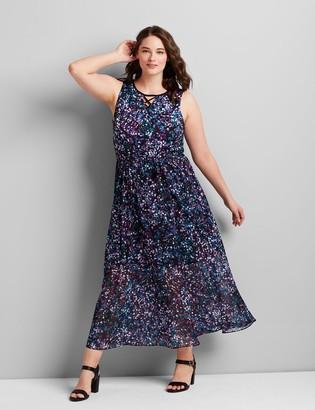 Lane Bryant Printed Mixed-Media Maxi Dress