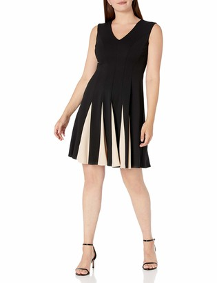 Sandra Darren Women's 1 Pc Extended Shoulder Scuba Crepe Fit & Flare Dress