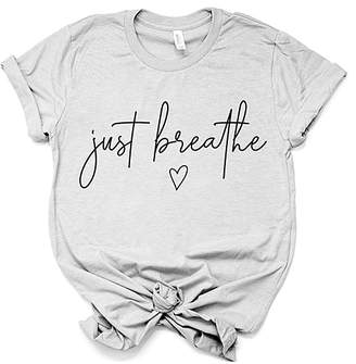 Party On! Women's Tee Shirts Cool - Cool Gray 'Just Breathe' Crewneck Tee - Women