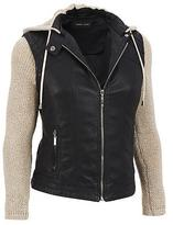 Black Rivet Womens Faux-Leather Jacket W/ Removable Knit Sleeves And Hood