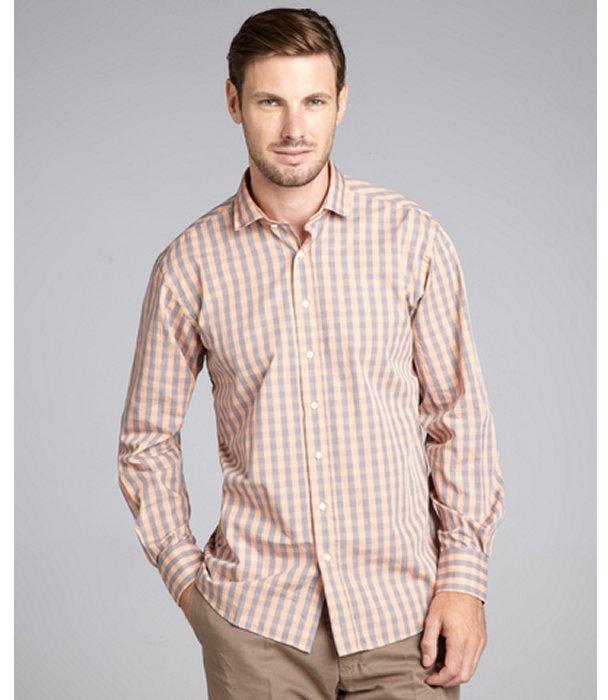 IKE Scott James orange plaid cotton 'Ike' button front shirt