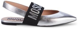 Moschino Logo Strap Metallic-Leather Slingback Flats