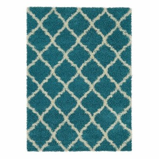 "Wrought Studioâ""¢ Radford Soft Turquoise Shaggy Area Rug Wrought Studioa Rug Size: Rectangle 5'3"" x 7'"