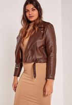 Missguided Plus Size Brown Faux Leather Biker Jacket