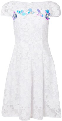 Talbot Runhof Floral Embellished Lace Dress