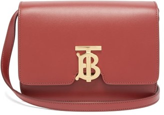 Burberry Tb Monogram Small Leather Cross-body Bag - Burgundy