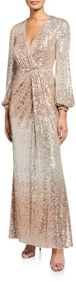 Badgley Mischka Ombre Sequin Long-Sleeve Drape Gown