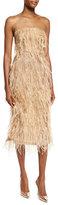 Jason Wu Ostrich-Feather Strapless Cocktail Dress, Camel