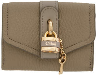 Chloé Grey Mini Aby Square Lock Wallet