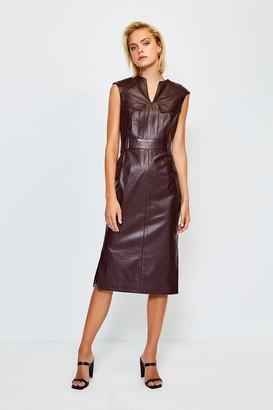Karen Millen Leather Pocket Detail Dress