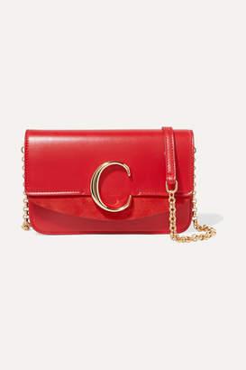 Chloé C Mini Suede-trimmed Leather Shoulder Bag - Red