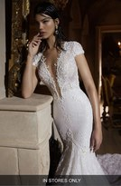 Women's Berta Plunging V-Neck Cap Sleeve Lace Mermaid Gown