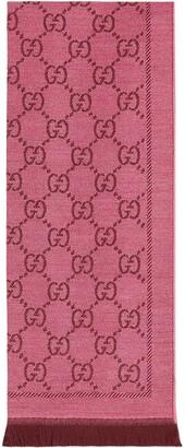 Gucci GG jacquard pattern knitted scarf