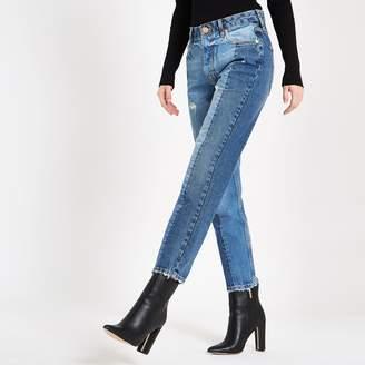 River Island Womens Mid Blue block slim fit denim jeans