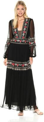 BCBGMAXAZRIA Azria Women's Selene Woven Long Sleeved Embroidered Dress