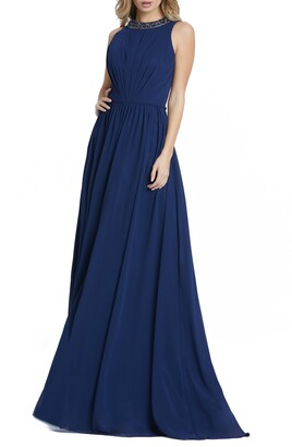 Mac Duggal leena for Embellished High Neck Pleated Gown