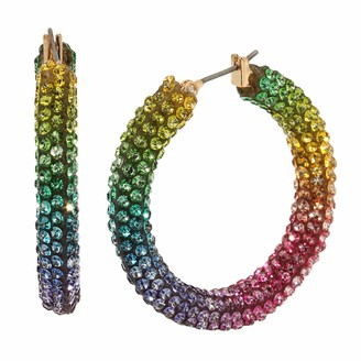 BCBGeneration BCBG Generation Rainbow Stone Mesh Hoop Earrings
